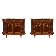 Pair of French 19th Century Louis XVI Style Mahogany and Marble Buffets
