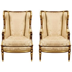 Pair of French 19th Century Louis XVI Style Mahogany and Ormolu Bergères