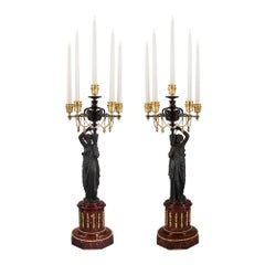 Pair of French 19th Century Louis XVI Style Marble and Bronze Candelabras