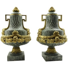 Pair of French 19th Century Louis XVI Style Marble and Gilt Bronze Urns