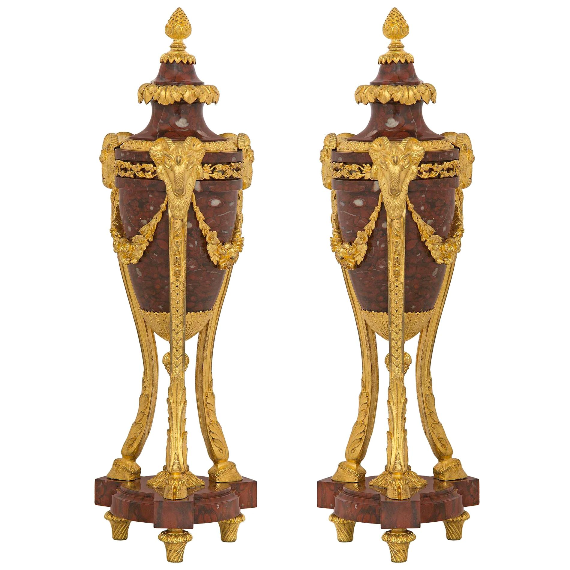 Pair of French 19th Century Louis XVI Style Marble and Ormolu Cassolettes