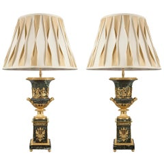 Pair of French, 19th Century Louis XVI Style Marble and Ormolu Lamps