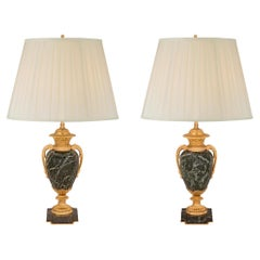 Pair of French 19th Century Louis XVI Style Marble and Ormolu Lamps