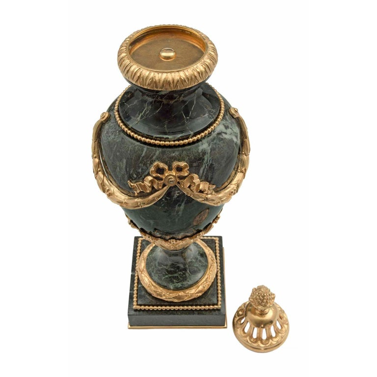 Pair of French 19th Century Louis XVI Style Marble and Ormolu Lidded Urns For Sale 2