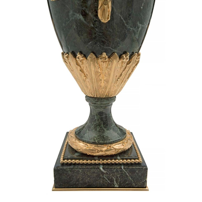 Pair of French 19th Century Louis XVI Style Marble and Ormolu Lidded Urns For Sale 3