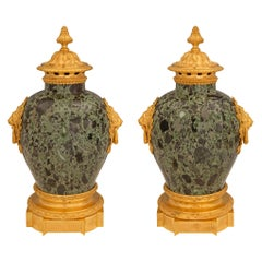 Pair of French 19th Century Louis XVI Style Marble and Ormolu Lidded Urns