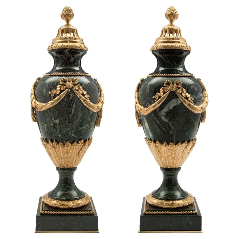 Pair of French 19th Century Louis XVI Style Marble and Ormolu Lidded Urns For Sale