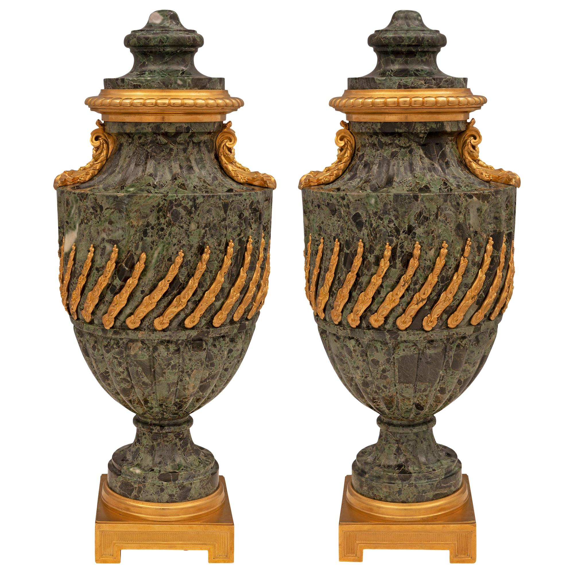 Pair of French 19th Century Louis XVI Style Marble and Ormolu Urns