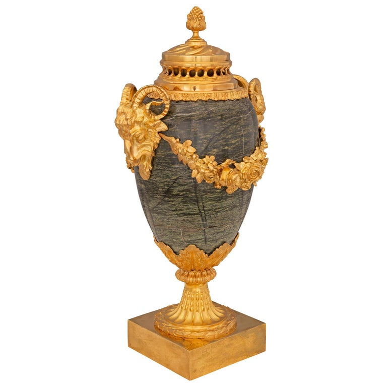 Pair of French 19th Century Louis XVI Style Marble Lidded Urns In Good Condition For Sale In West Palm Beach, FL