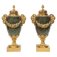 Pair of French 19th Century Louis XVI Style Marble Lidded Urns