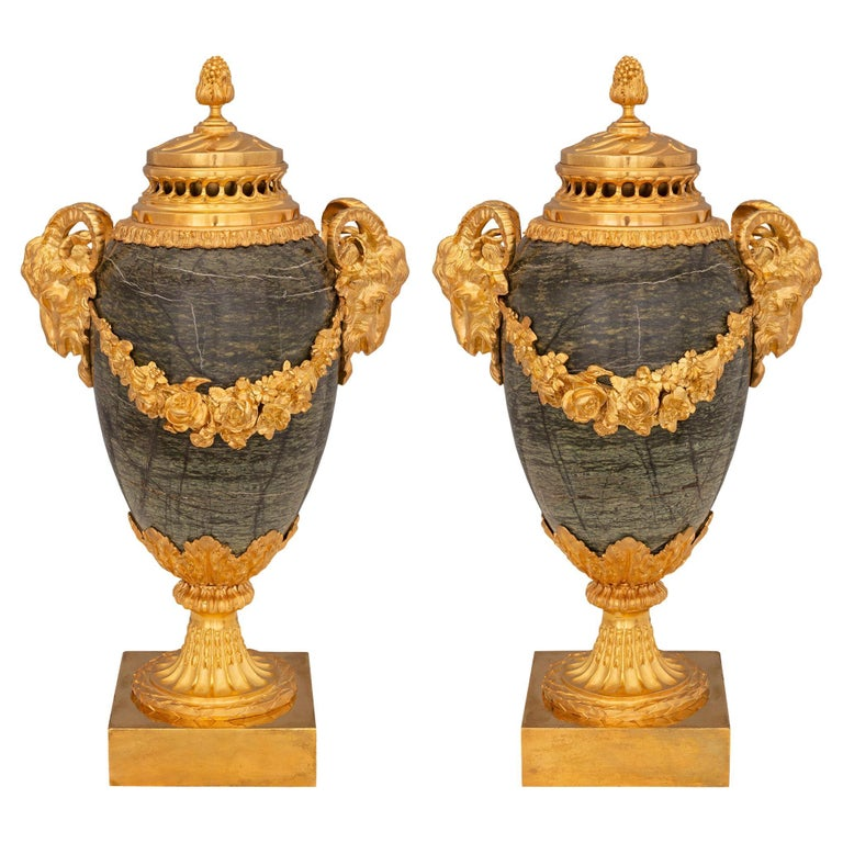 Pair of French 19th Century Louis XVI Style Marble Lidded Urns For Sale