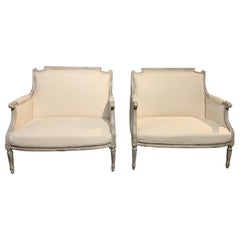 Pair of French 19th Century Louis XVI Style Marquises Armchairs