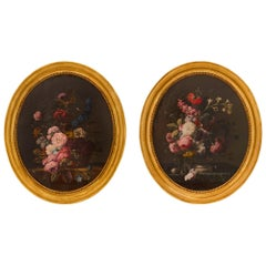 Pair of French 19th Century Louis XVI Style Oil on Canvas Still Life Paintings