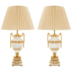 Pair of French 19th Century Louis XVI Style Onyx and Ormolu Lamps
