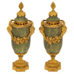 Pair of French 19th Century Louis XVI Style Onyx and Ormolu Lidded Urns