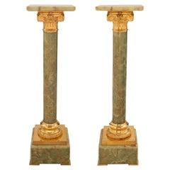 Pair of French 19th Century Louis XVI Style Onyx and Ormolu Pedestal Columns