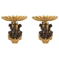 Pair of French 19th Century Louis XVI Style Ormolu and Bronze Centerpieces