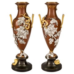 Pair of French 19th Century Louis XVI Style Ormolu and Bronze Urns