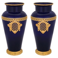 Pair of French 19th Century Louis XVI Style Ormolu and Cobalt Blue Glass Vases