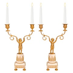 Pair of French 19th Century Louis XVI Style Ormolu and Marble Candelabras