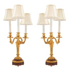 Pair of French 19th Century Louis XVI Style Ormolu and Marble Candelabras Lamps