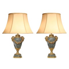 Pair of French 19th Century Louis XVI Style Ormolu and Marble Lamps