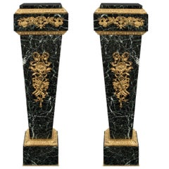 Pair of French 19th Century Louis XVI Style Ormolu and Marble Pedestals Columns