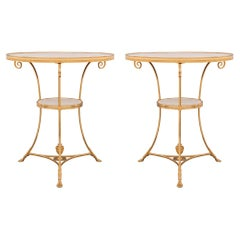 Pair of French 19th Century Louis XVI Style Ormolu and Marble Side Tables