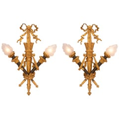 Pair of French 19th Century Louis XVI Style Ormolu and Patinated Bronze Sconces