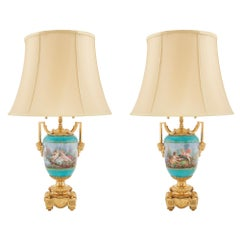 Pair of French 19th Century Louis XVI Style Ormolu and Porcelain Lamps by Picard
