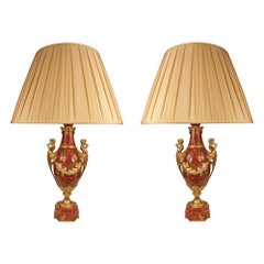 Pair of French 19th Century Louis XVI Style Ormolu and Red Vulcano Onyx Lamps