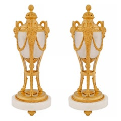 Pair of French 19th Century Louis XVI Style Ormolu and Silver Bronze Cassolettes