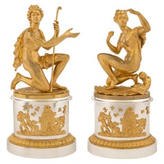 Pair of French 19th Century Louis XVI Style Ormolu and Silvered Bronze Statues