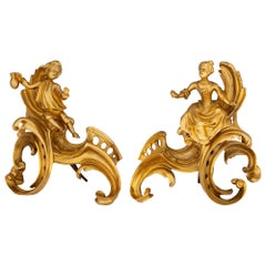Pair of French 19th Century Louis XVI Style Ormolu Andirons