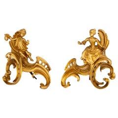 Pair of French 19th Century Louis XVI Style Ormolu Andirons