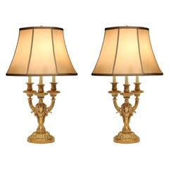 Pair of French 19th Century Louis XVI Style Ormolu Bouillotte Lamps