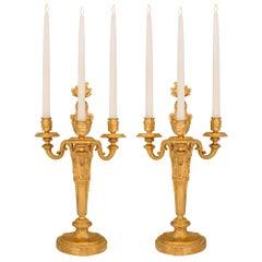 Pair of French 19th Century Louis XVI Style Ormolu Candelabras