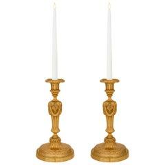 Pair of French 19th Century Louis XVI Style Ormolu Candlesticks