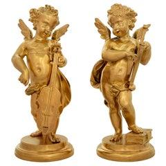 Pair of French 19th Century Louis XVI Style Ormolu Cherub Statues