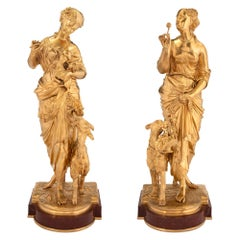 Pair of French 19th Century Louis XVI Style Ormolu Statues, Signed Waagen