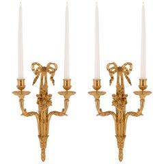 Pair of French 19th Century Louis XVI Style Ormolu Two-Arm Sconces