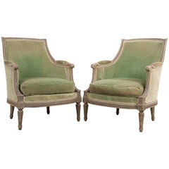 Pair of French 19th Century Louis XVI-Style Painted Bergères