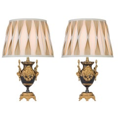 Pair of French 19th Century Louis XVI Style Patinated Bronze and Ormolu Lamps