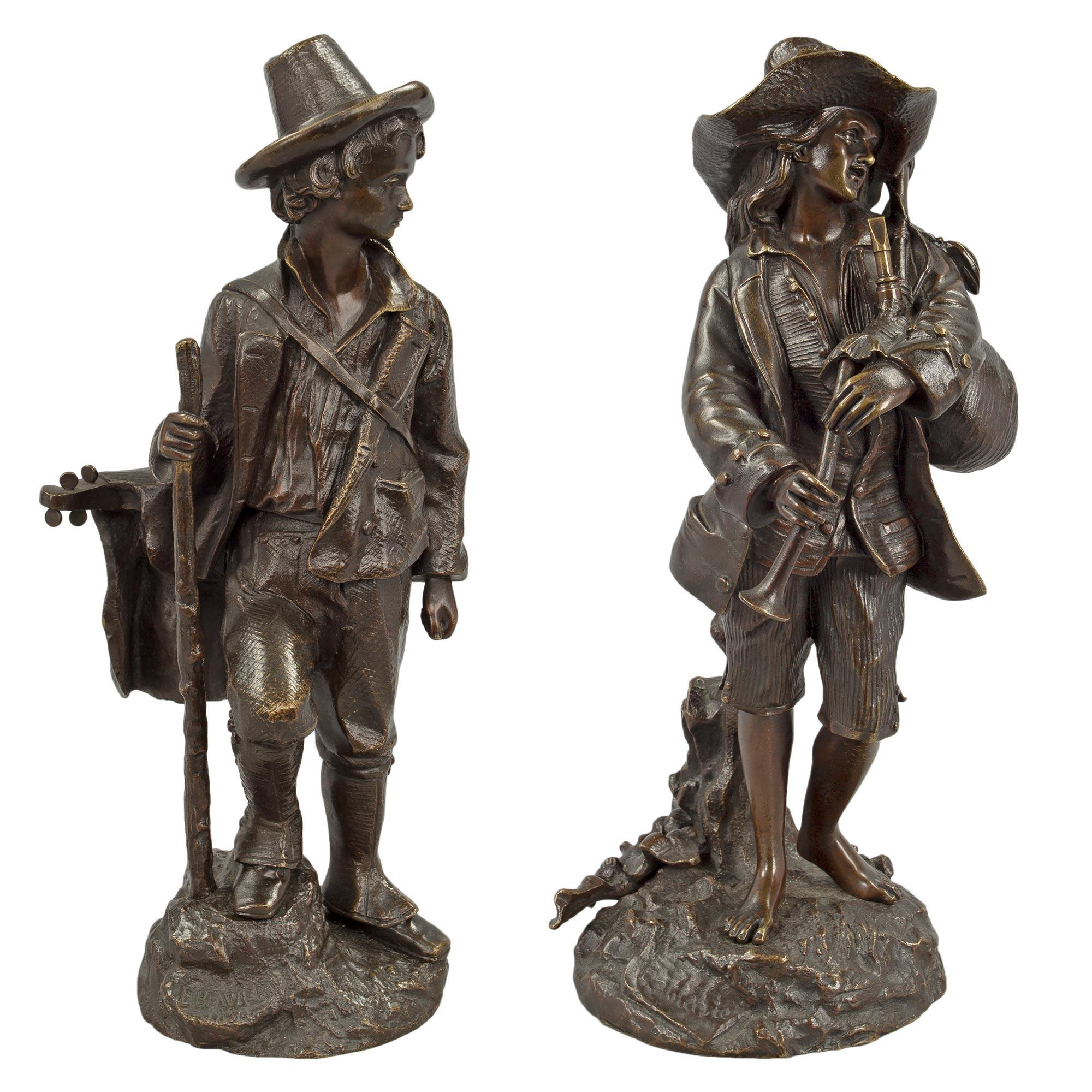 Pair of French 19th Century Louis XVI Style Patinated Bronze Statues