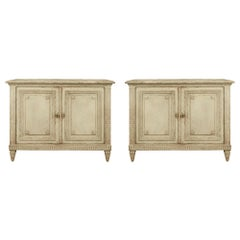 Pair of French 19th Century Louis XVI Style Patinated Commode À Portes