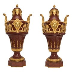 Pair of French 19th Century Louis XVI Style Rouge Marble and Ormolu Urns