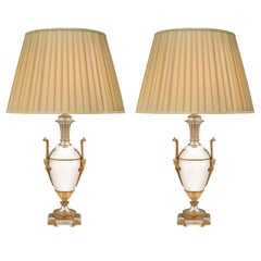 Pair of French 19th Century Louis XVI Style Silvered Bronze and Ormolu Lamps