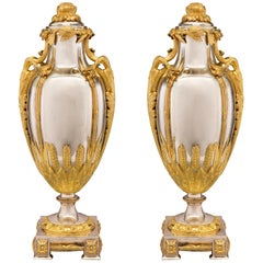 Pair of French 19th Century Louis XVI Style Silvered Bronze and Ormolu Urns