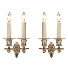 Pair of French 19th Century Louis XVI Style Silvered Bronze Sconces