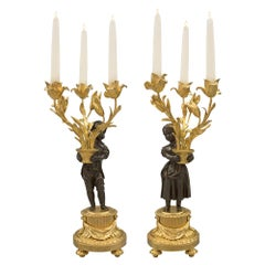 Pair of French 19th Century Louis XVI Style Three-Arm Candelabras